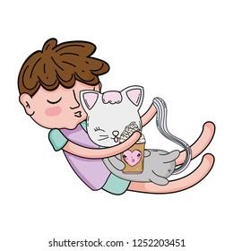 little boy with cat kawaii character