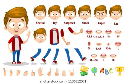 Little boy character constructor for animation and custom illustrations. Dark brown hair guy in red shirt. Character creation set with various views, face emotions, lip sync and poses.