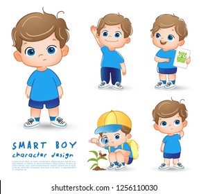 Little Boy Character on White background : Vector Illustration