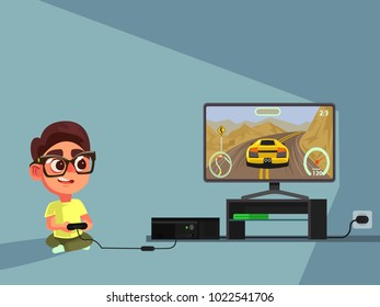 Little boy character play computer games. Vector flat illustration