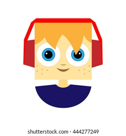 Little boy character with stylish headphones. Flat style, square head style. Avatar icon. Vector illustration.
