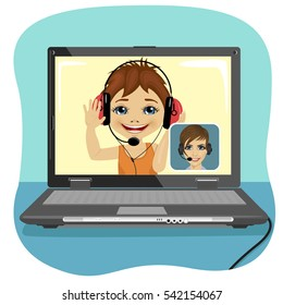 Little boy chatting with his mother via internet. Video call and chat concept. Modern communication technology.