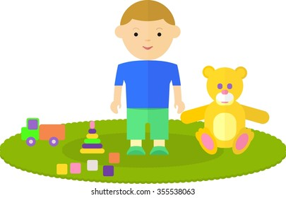 Little boy in the children's room. The child is on the floor. Around the boys are his favorite toys: a bear, machine, pyramids, cubes. Objects isolated on a white background. Flat vector illustration.