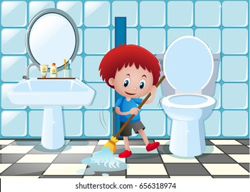 Little boy cleaning bathroom floor illustration