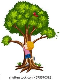 Little boy climbing up the tree illustration