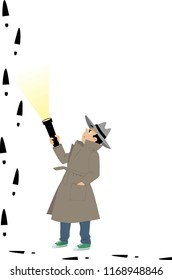Little boy detective is confused by suspicious footprints, EPS 8 vector illustration