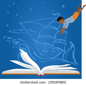 Little boy diving in an open book, old-time sailing ship on the background, EPS 8 vector illustration