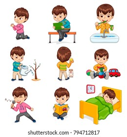 Little boy does daily routine actions. Kid plays with toys and tablet, waters plant, brushes teeth, reads book and sleeps in bed vector illustrations.