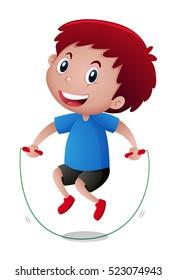 Little boy doing jumprope illustration