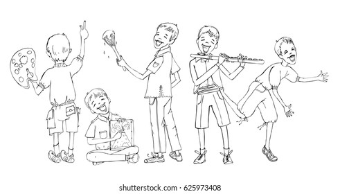 Little boy doodle, paying musical instrument, drawing, running, reading. School activities, educational concept