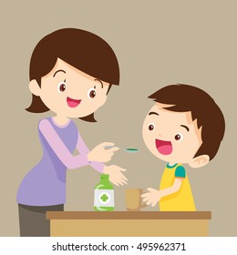 Little boy drinking syrup medicine liquid mother hand feed.cute  boy eat drug cartoon vector.