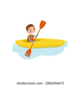 Little boy engaged in kayaking. Cheerful kid sitting in kayak and holding paddle. Active summer recreation. Flat vector design