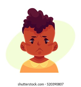 Little boy face, angry facial expression, cartoon vector illustrations isolated on yellow background. black male kid emoji face, feeling distresses, frustrated, sullen, upset.