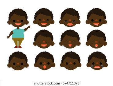 Little Boy Feelings Set Vector