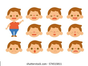 Little Boy Feelings Set Vectors