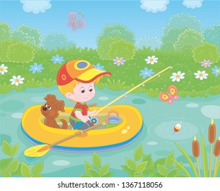 Little boy fisherman with a fishing-rod and a small pup in his inflatable boat catching fish in a pond on a sunny summer day, vector illustration in a cartoon style