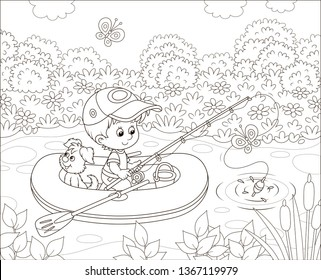 Little boy fisherman with a fishing-rod and a small pup in his inflatable boat catching fish in a pond on a sunny summer day, black and white vector illustration in a cartoon style