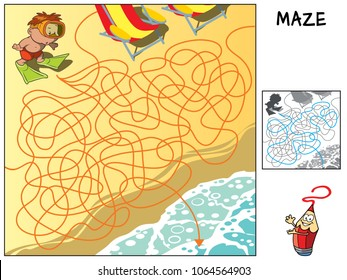 A little boy in flippers and mask trying to reach the sea. Educational maze game for children. Cartoon vector illustration