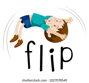 Little boy flipping on white background illustration