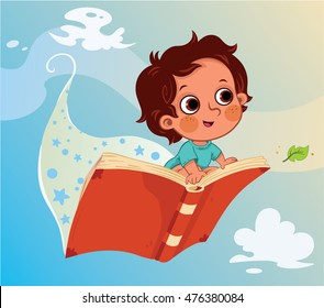Little boy flying on a book. (Vector illustration)