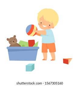 Little Boy Gathering His Toys and Tidy Up His Room Vector Illustration