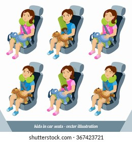 Little boy and girl are in the car seats with safety belts and travel pillows. Toddlers are in transportation seats with neck pillows. Illustration about safe travel of children. Vector images set.