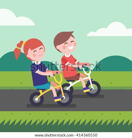 Little boy and girl kids riding bicycle a outdoors on a park bike path. Cartoon  character clipart. Modern flat style illustration. - Vector be991c378e85