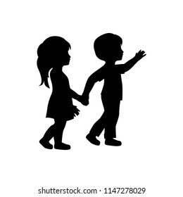 little boy and girl, logo icon