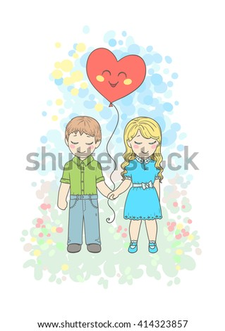 Little Boy Girl Love Holding Hands Stock Vector Royalty Free