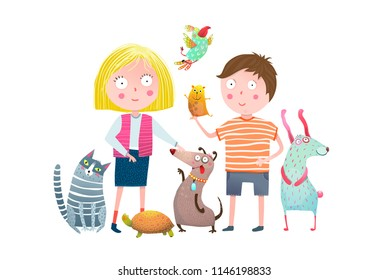Little Boy and Girl in Pet Shop. Young kids and domestic animals cartoon. Vector illustration.