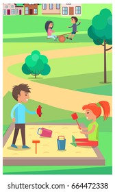 Little boy and girl playing with toys in sandbox in summer park with two kids on teetering board on background. Childhood entertainment vector poster