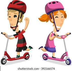 Little boy and girl riding scooter cartoon