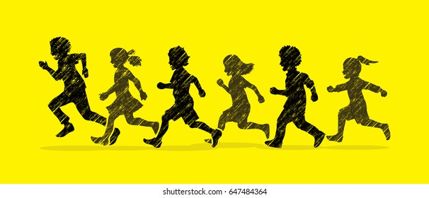 Little boy and girl running, Group of Children running, play together graphic vector