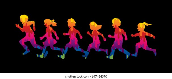 Little boy and girl running, Group of Children running, play together designed using melting colors graphic vector