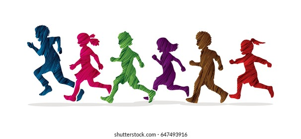 Little boy and girl running, Group of Children running, play together designed using colorful grunge brush graphic vector