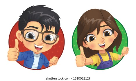 Little Boy and Little Girl Show Thumb Up, Vector EPS 10