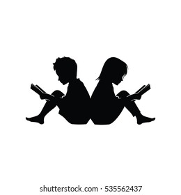 Little Boy and Girl Study Read Book Silhouette Illustration
