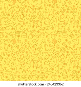 Little boy and girl toys pattern. Kids seamless texture background with children stuff.