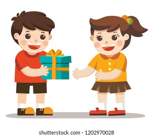 A little boy giving girl birthday gift box. kid hand over holiday present.