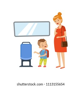 Little boy giving way to pregnant woman in public transport, kids good manners concept vector Illustration on a white background
