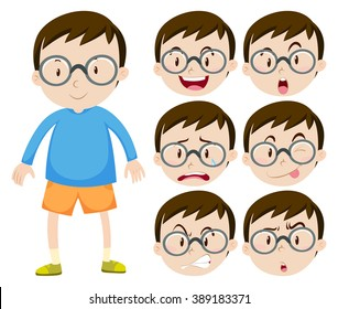 Little boy with glasses and many facial expressions illustration
