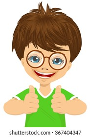 little boy with glasses showing two thumbs up
