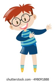Little boy with glasses smiling