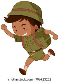 Little boy in green costume with backpack illustration