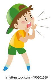 Little boy with green hat shouting illustration
