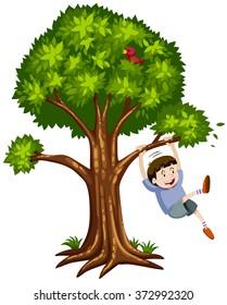 Little boy hanging on the branch illustration