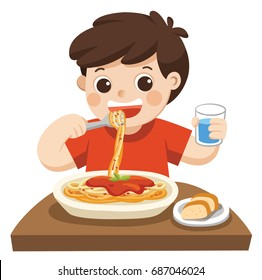A Little boy happy to eat Spaghetti with Fork on Plate. Isolated vector