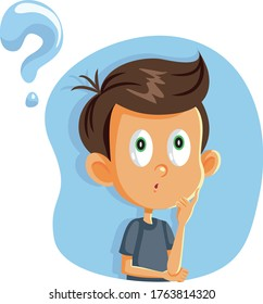 Little Boy Having Many Questions Vector Cartoon. Funny child wondering looking for answers