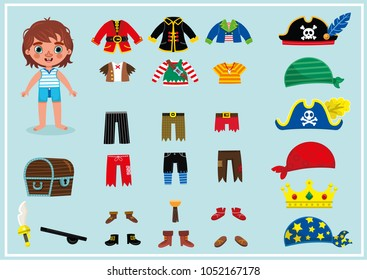 Little boy with his pirate costumes. For dress up, paper doll games. (Vector illustration)
