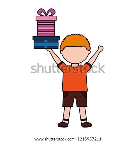 Little Boy Holding Birthday Gift